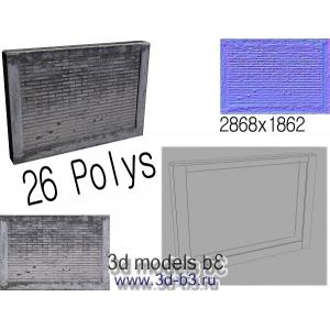 Low-Poly 3D модель кирпичного забора
