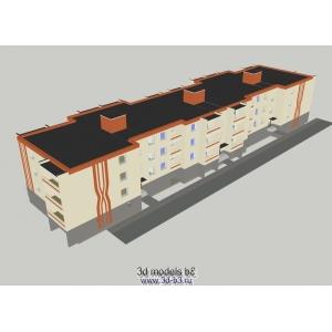 Кирпичный трехэтажный жилой дом